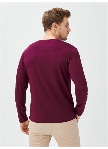 MCL MCL Patlı Yaka Pamuklu Slim Fit Uzun Kollu Basic Tişört Bordo